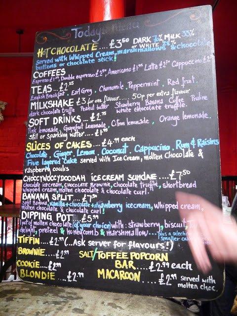 choccywoccydoodah menu